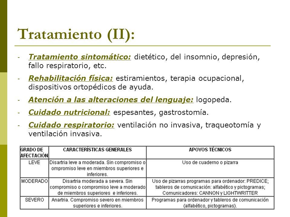 Tratamiento (II):Tratamiento sintomático: dietético, del insomnio, depresión, fallo respiratorio, etc.