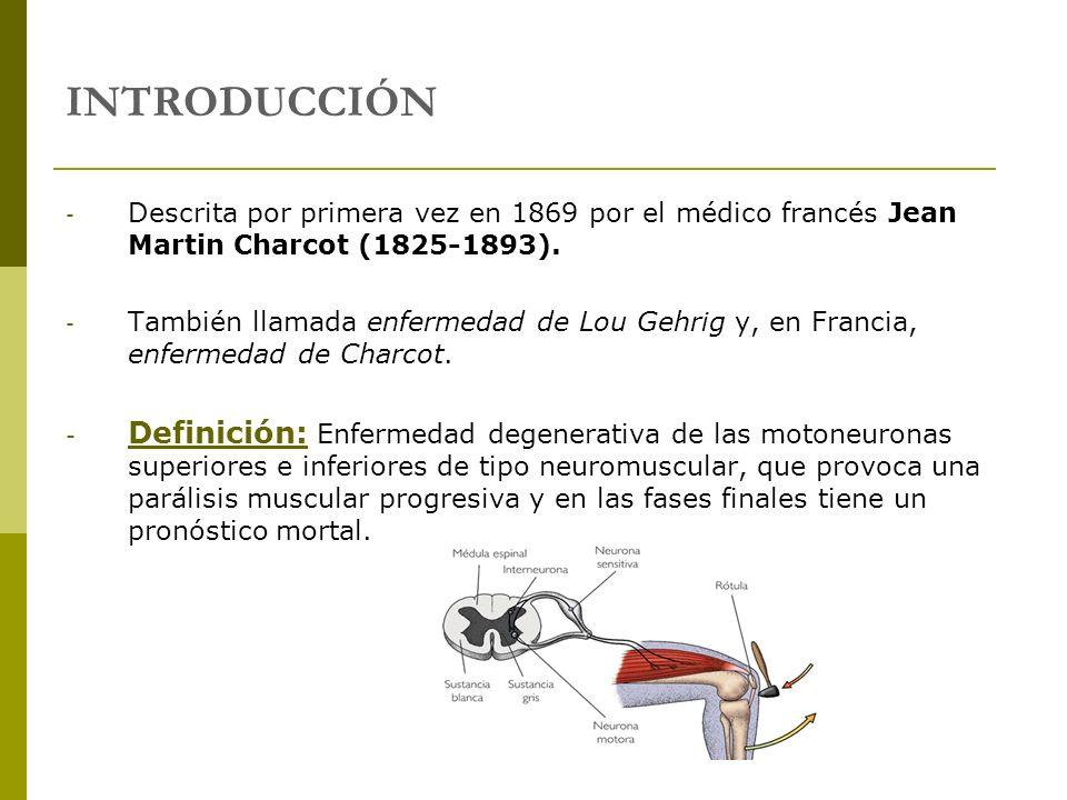 INTRODUCCIÓN Descrita por primera vez en 1869 por el médico francés Jean Martin Charcot (1825-1893).