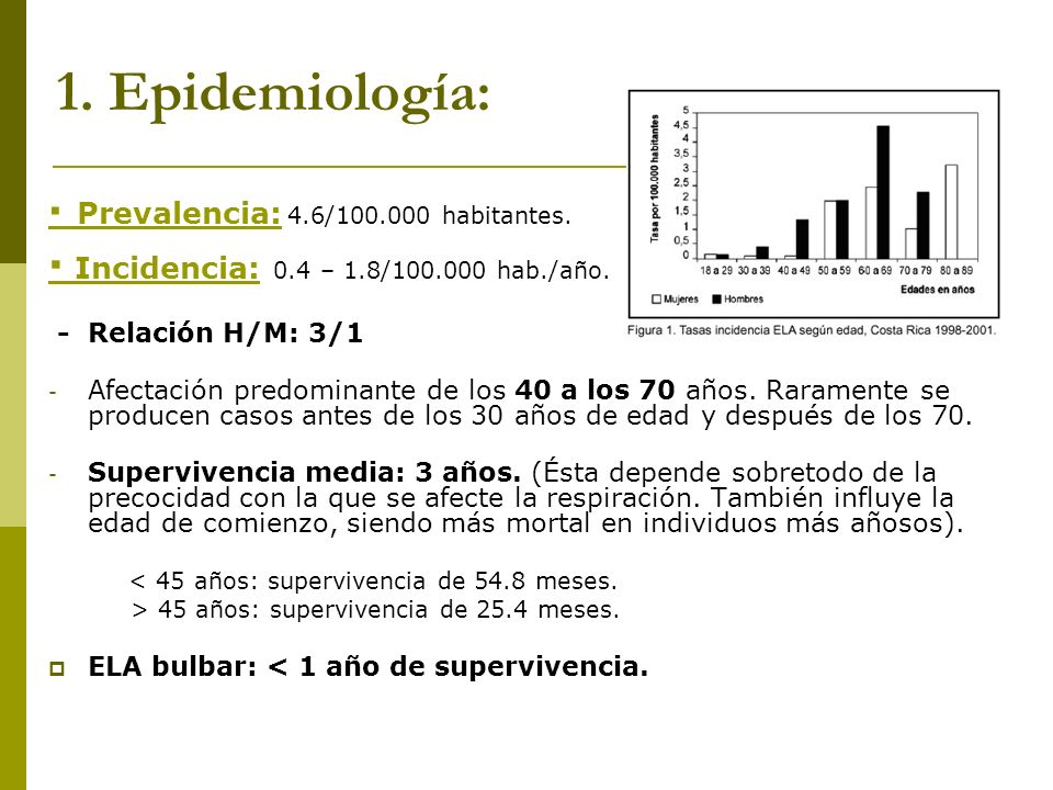 1. Epidemiología: · Incidencia: 0.4 – 1.8/100.000 hab./año.