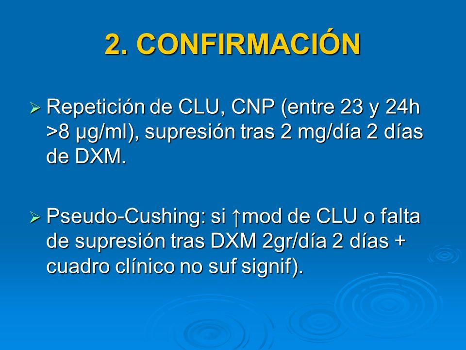 2. CONFIRMACIÓN Repetición de CLU, CNP (entre 23 y 24h >8 μg/ml), supresión tras 2 mg/día 2 días de DXM.