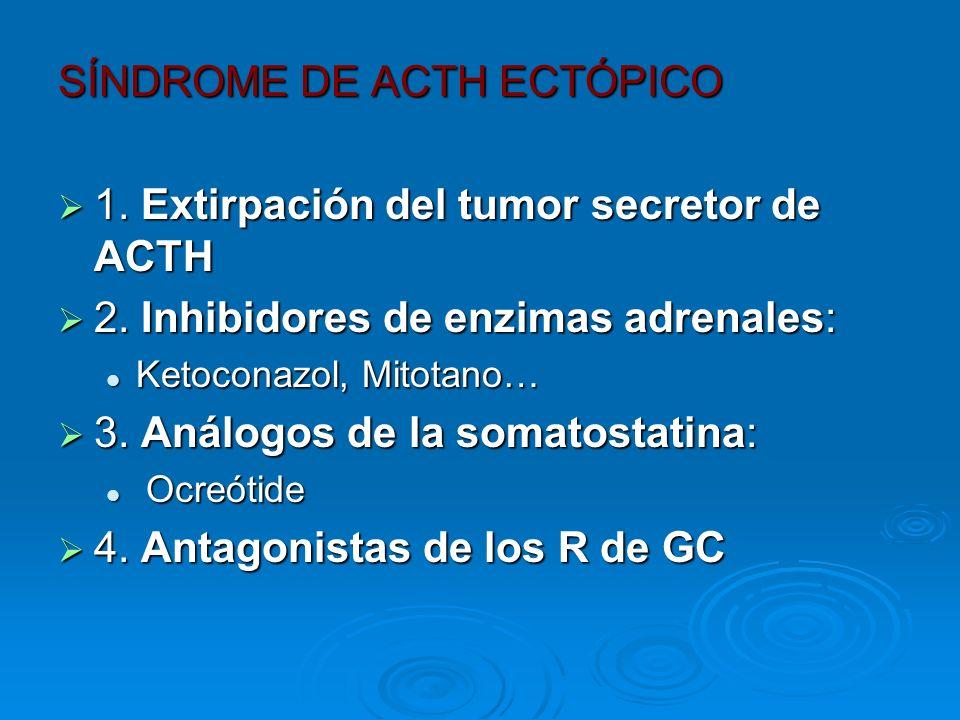 SÍNDROME DE ACTH ECTÓPICO 1. Extirpación del tumor secretor de ACTH