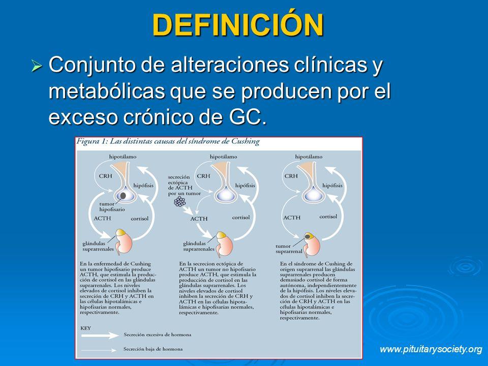 DEFINICIÓN Conjunto de alteraciones clínicas y metabólicas que se producen por el exceso crónico de GC.