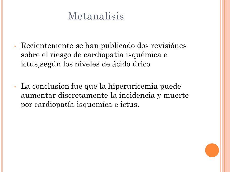 MetanalisisRecientemente se han publicado dos revisiónes sobre el riesgo de cardiopatía isquémica e ictus,según los niveles de ácido úrico.