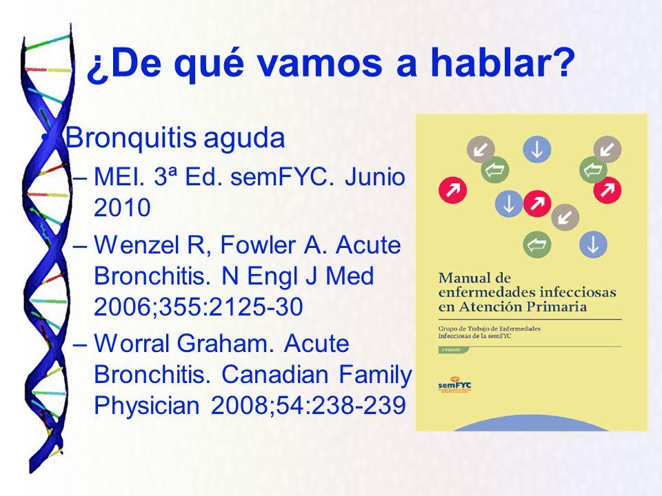 ¿De qué vamos a hablar Bronquitis aguda