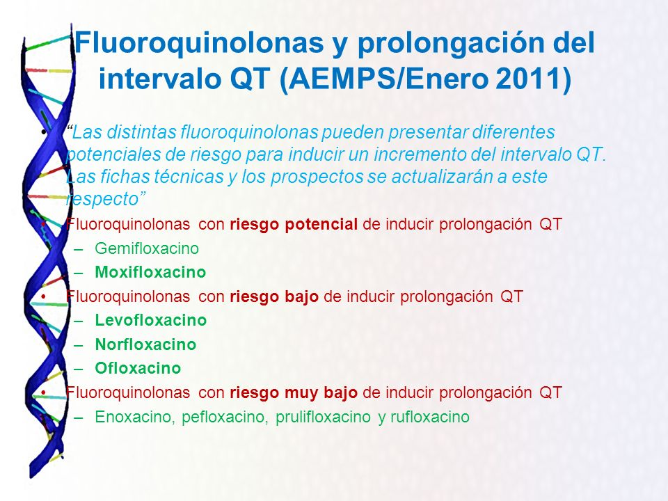 Fluoroquinolonas y prolongación del intervalo QT (AEMPS/Enero 2011)