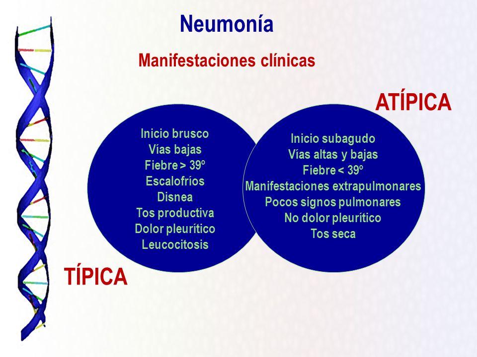 Neumonía ATÍPICA TÍPICA Manifestaciones clínicas Inicio brusco