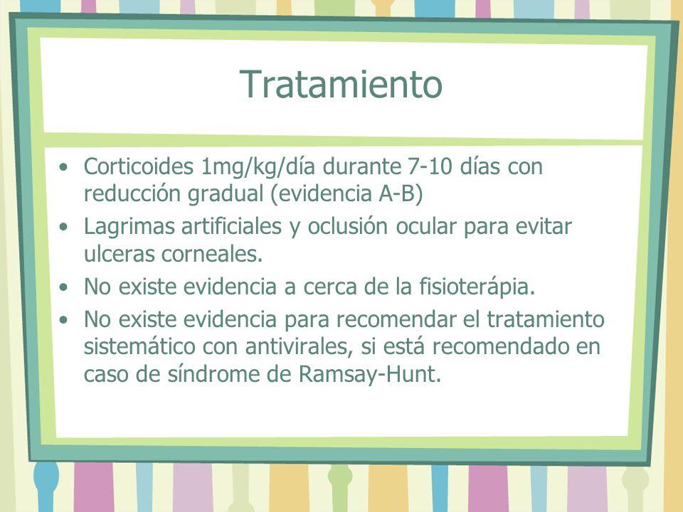 Tratamiento Corticoides 1mg/kg/día durante 7-10 días con reducción gradual (evidencia A-B)