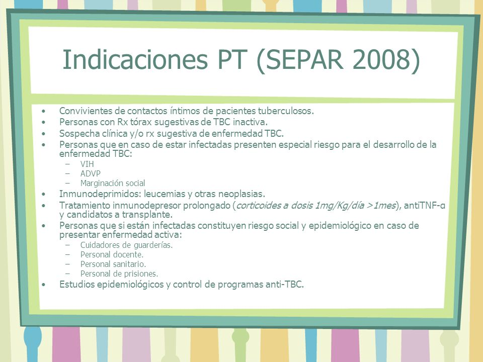 Indicaciones PT (SEPAR 2008)