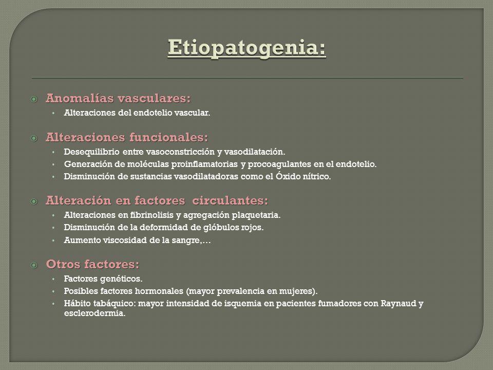 Etiopatogenia: Anomalías vasculares: Alteraciones funcionales: