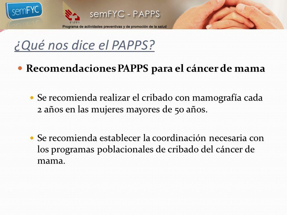 ¿Qué nos dice el PAPPS Recomendaciones PAPPS para el cáncer de mama