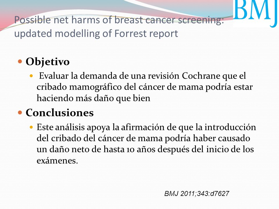 Possible net harms of breast cancer screening: updated modelling of Forrest report