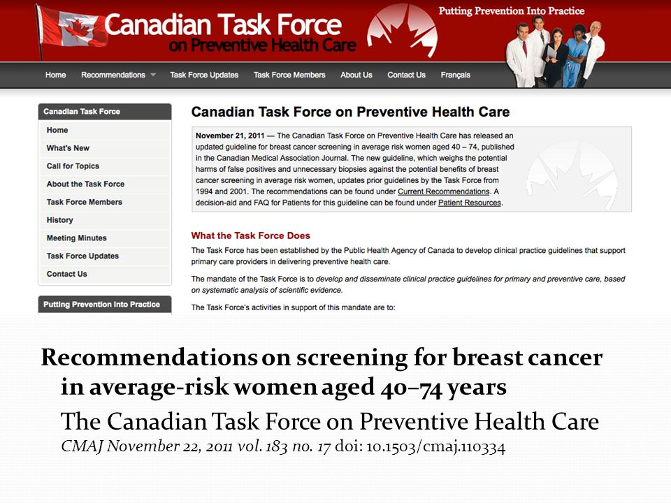 Recommendations on screening for breast cancer in average-risk women aged 40–74 years
