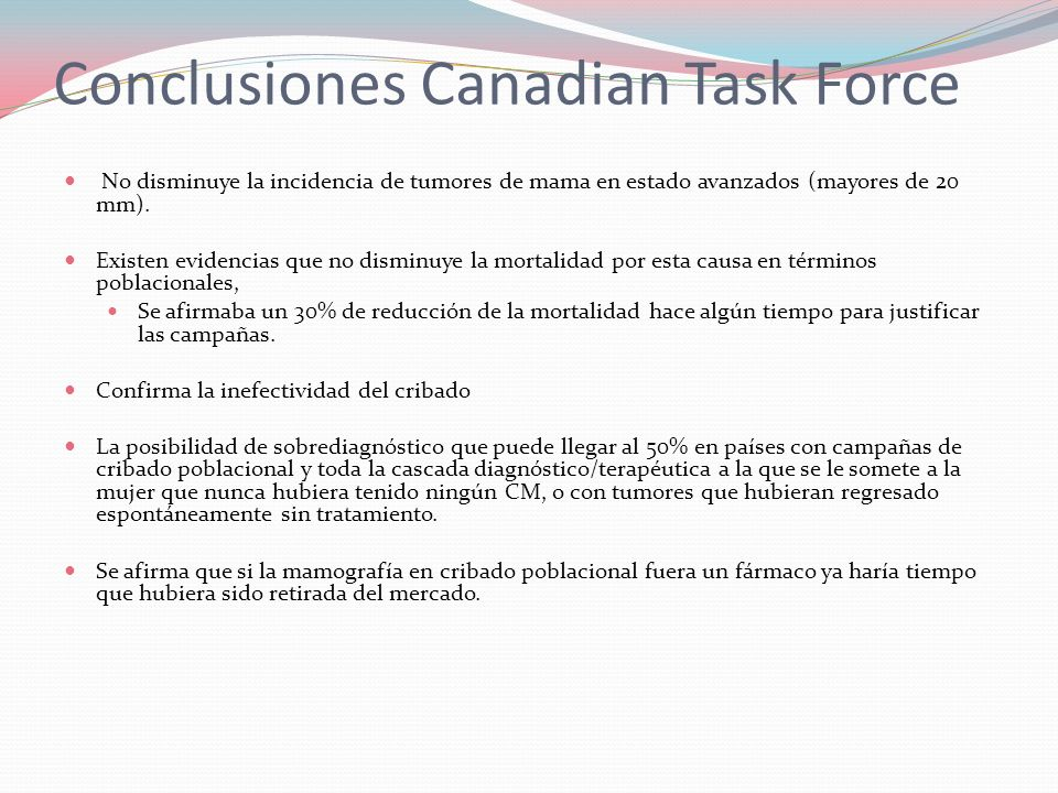 Conclusiones Canadian Task Force