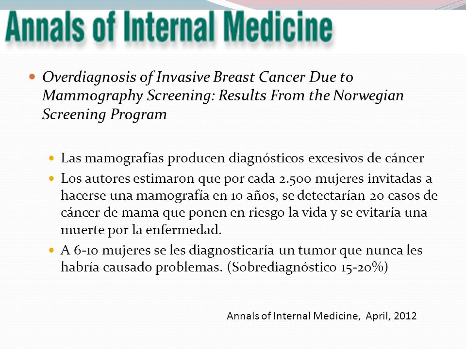 Overdiagnosis of Invasive Breast Cancer Due to Mammography Screening: Results From the Norwegian Screening Program