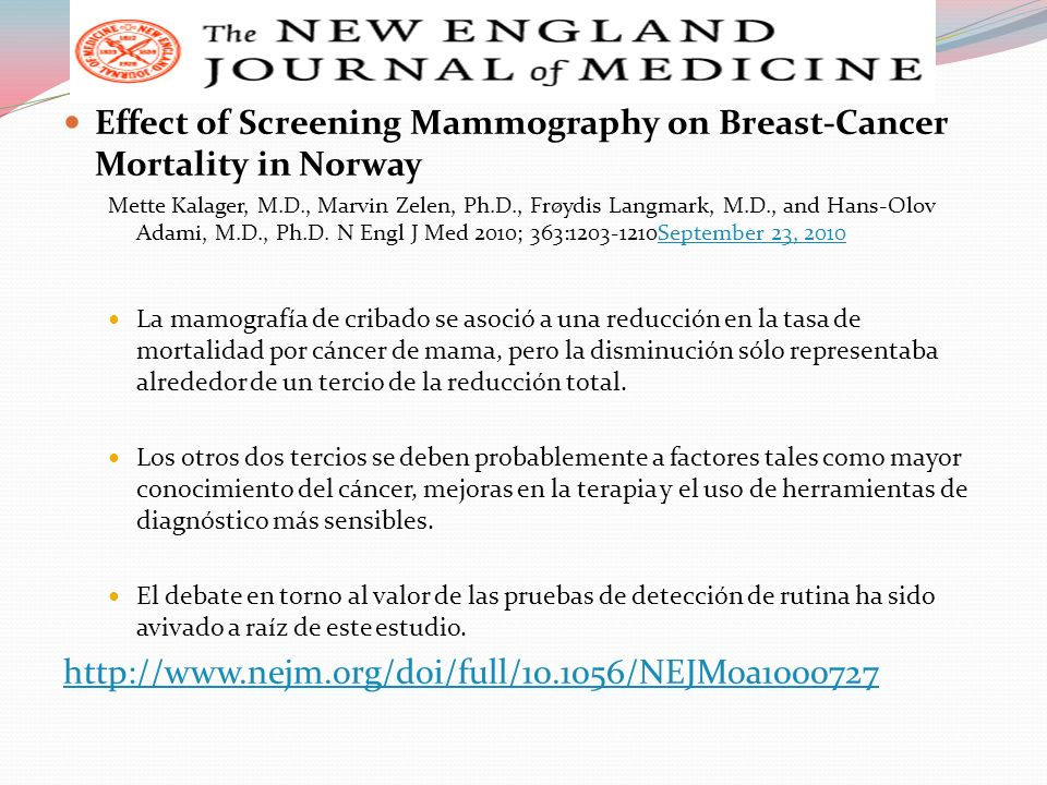 Effect of Screening Mammography on Breast-Cancer Mortality in Norway