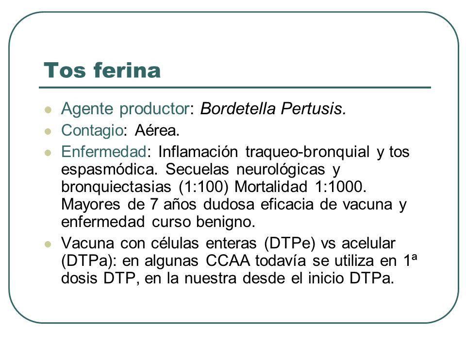 Tos ferina Agente productor: Bordetella Pertusis. Contagio: Aérea.