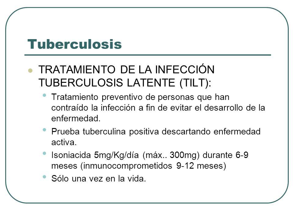 Tuberculosis TRATAMIENTO DE LA INFECCIÓN TUBERCULOSIS LATENTE (TILT):