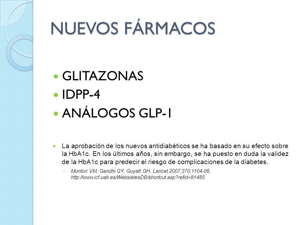 NUEVOS FÁRMACOS GLITAZONAS IDPP-4 ANÁLOGOS GLP-1