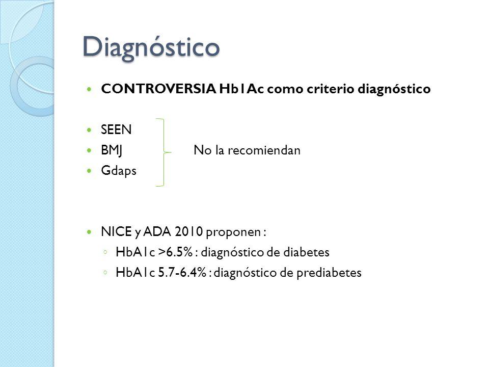 Diagnóstico CONTROVERSIA Hb1Ac como criterio diagnóstico SEEN