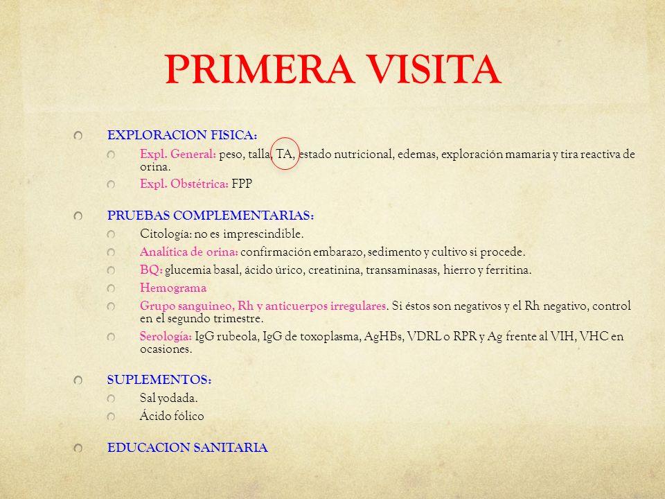 PRIMERA VISITA EXPLORACION FISICA: PRUEBAS COMPLEMENTARIAS:
