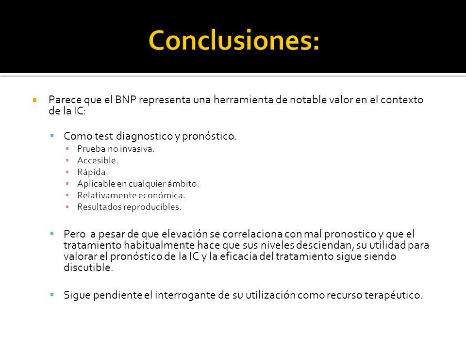 Conclusiones:Parece que el BNP representa una herramienta de notable valor en el contexto de la IC: