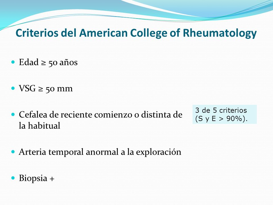 Criterios del American College of Rheumatology