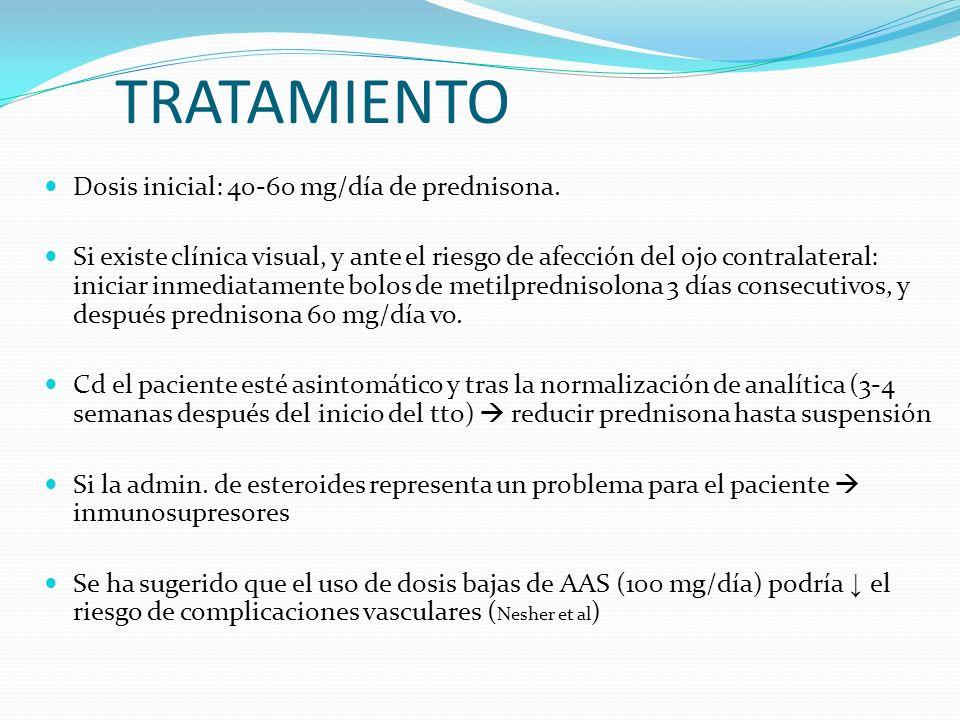 TRATAMIENTO Dosis inicial: 40-60 mg/día de prednisona.