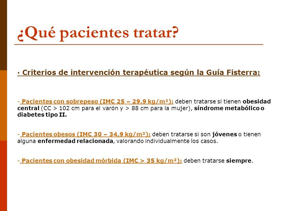¿Qué pacientes tratar · Criterios de intervención terapéutica según la Guía Fisterra: