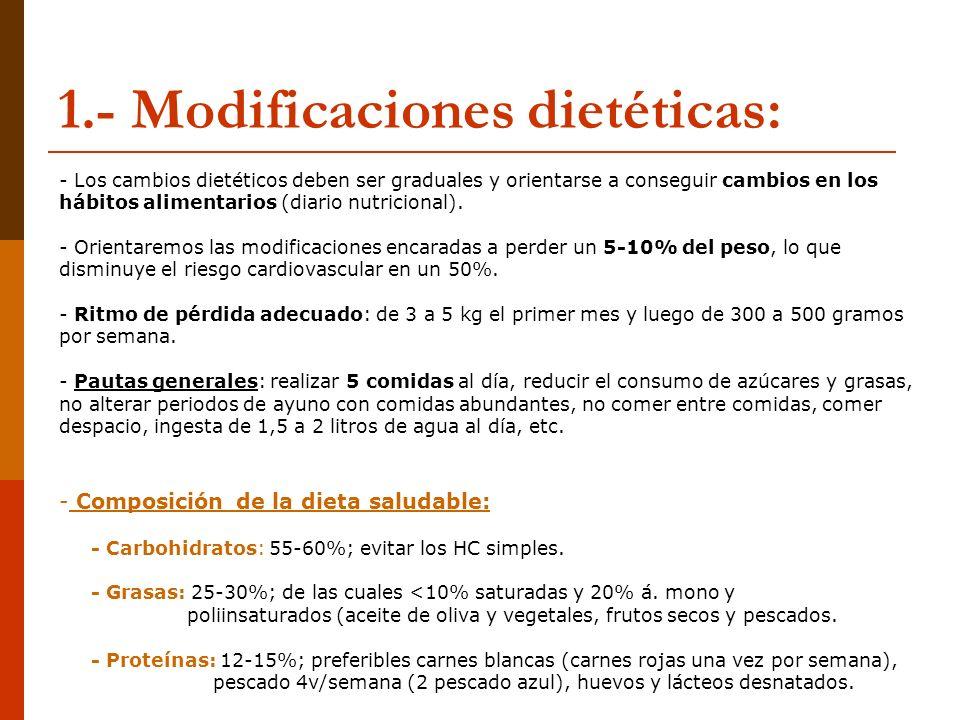 1.- Modificaciones dietéticas: