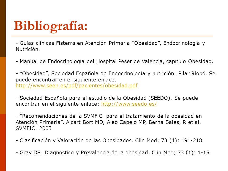 Bibliografía:Guías clínicas Fisterra en Atención Primaria Obesidad , Endocrinología y Nutrición.