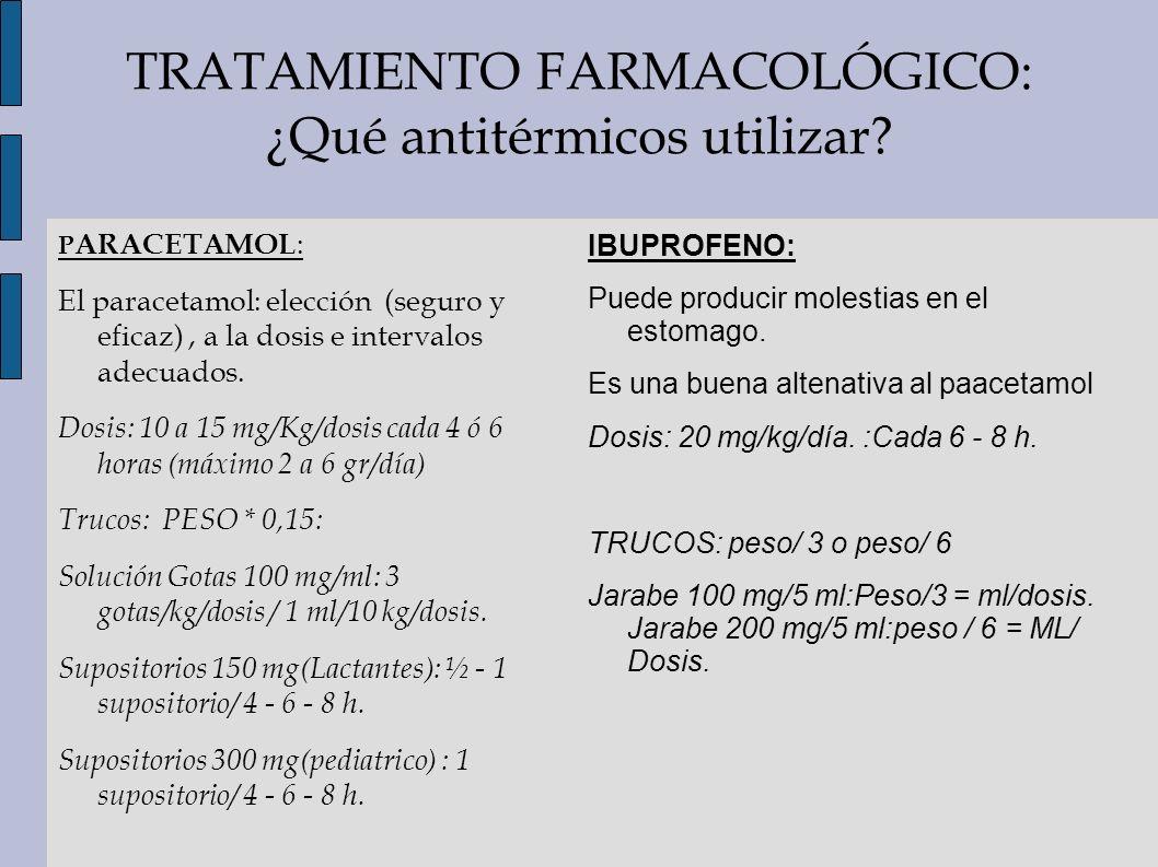 TRATAMIENTO FARMACOLÓGICO: ¿Qué antitérmicos utilizar