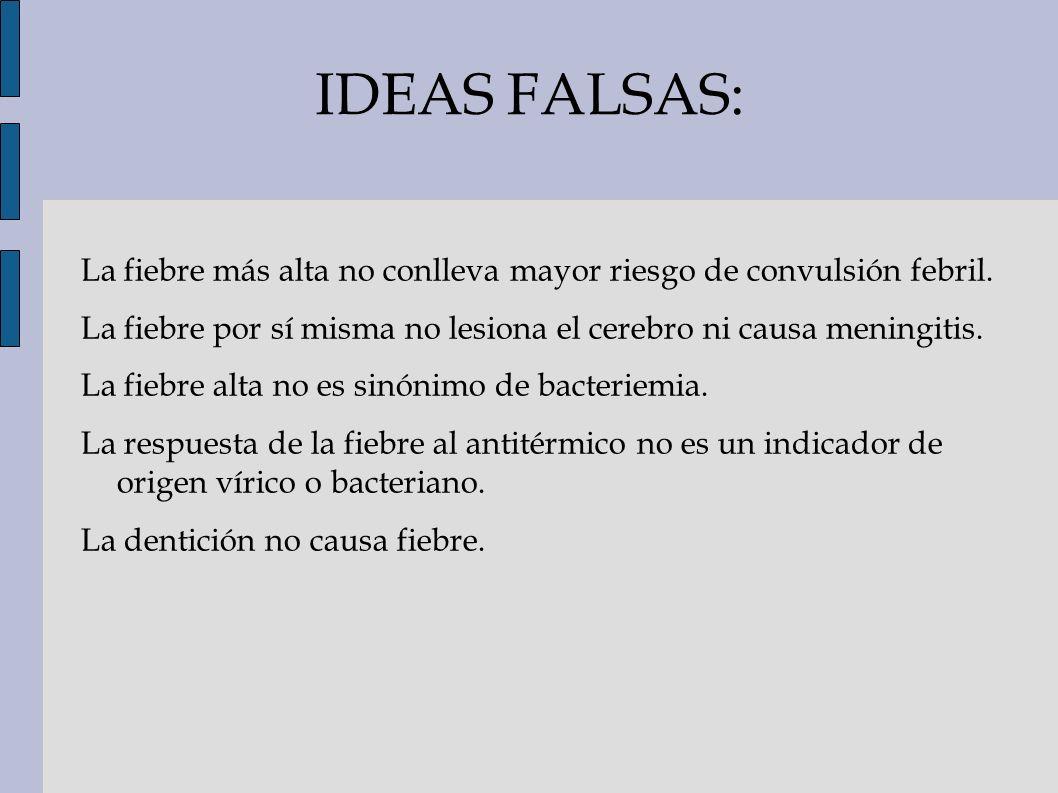 IDEAS FALSAS: La fiebre más alta no conlleva mayor riesgo de convulsión febril. La fiebre por sí misma no lesiona el cerebro ni causa meningitis.