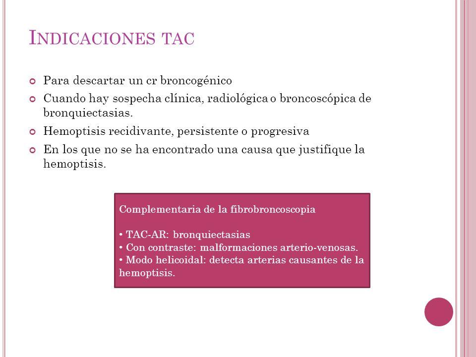 Indicaciones tac Para descartar un cr broncogénico