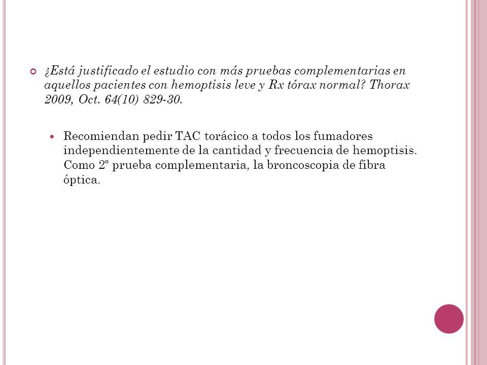 ¿Está justificado el estudio con más pruebas complementarias en aquellos pacientes con hemoptisis leve y Rx tórax normal Thorax 2009, Oct. 64(10) 829-30.