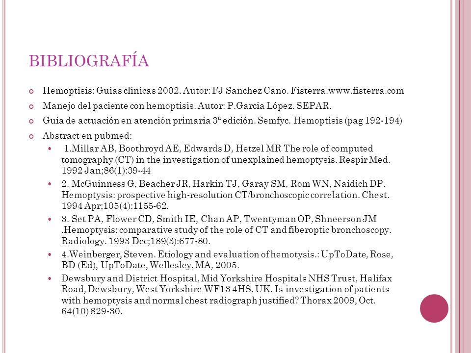 bibliografía Hemoptisis: Guias clínicas 2002. Autor: FJ Sanchez Cano. Fisterra.www.fisterra.com.