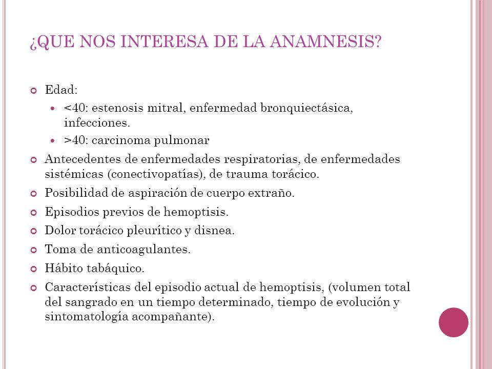 ¿QUE NOS INTERESA DE LA ANAMNESIS