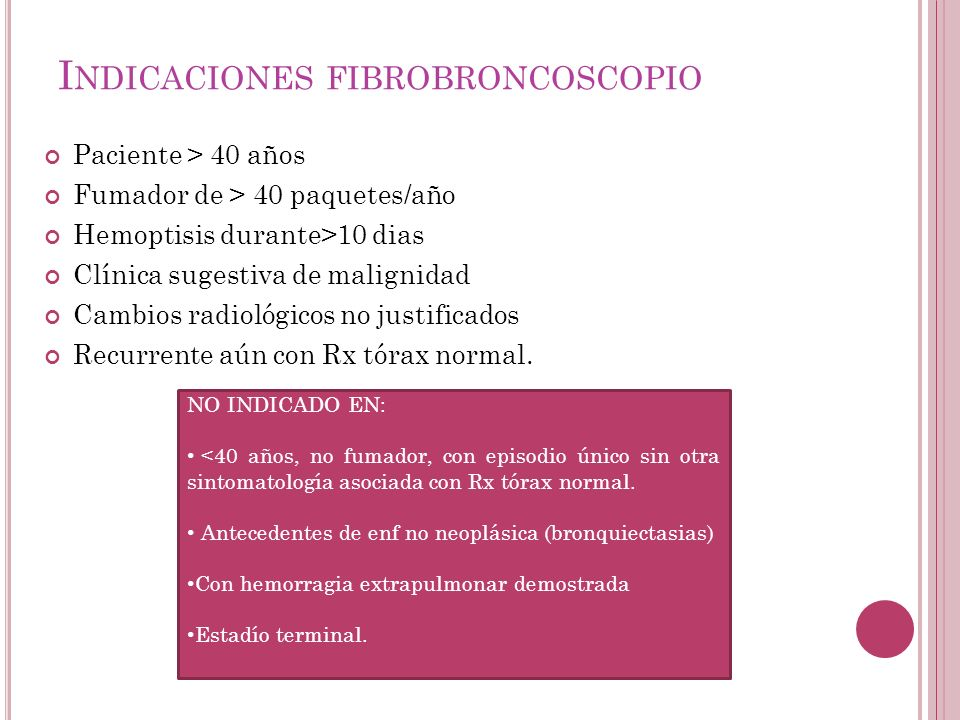 Indicaciones fibrobroncoscopio