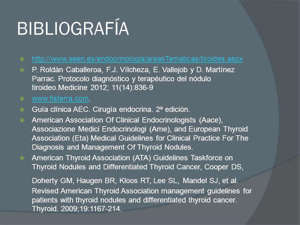 BIBLIOGRAFÍAhttp://www.seen.es/endocrinologia/areasTematicas/tiroides.aspx.