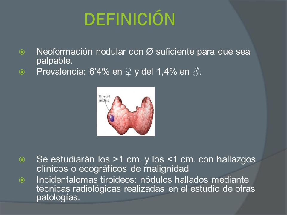 DEFINICIÓN Neoformación nodular con Ø suficiente para que sea palpable. Prevalencia: 6'4% en ♀ y del 1,4% en ♂.