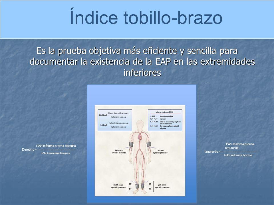 Índice tobillo-brazo Es la prueba objetiva más eficiente y sencilla para documentar la existencia de la EAP en las extremidades inferiores.