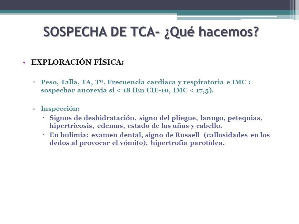 SOSPECHA DE TCA- ¿Qué hacemos