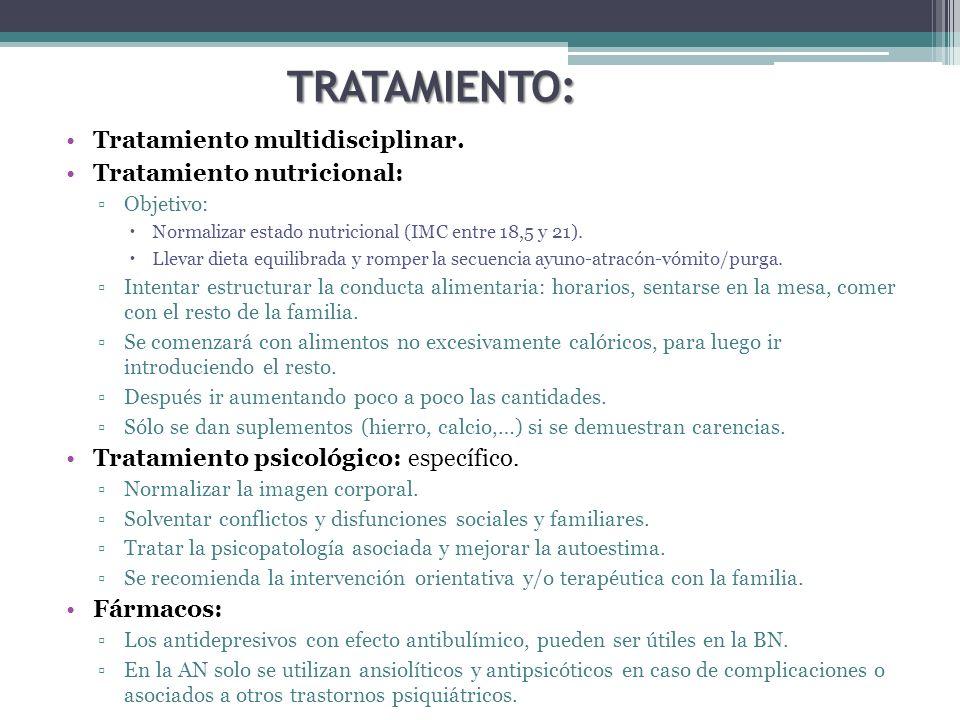 TRATAMIENTO: Tratamiento multidisciplinar. Tratamiento nutricional: