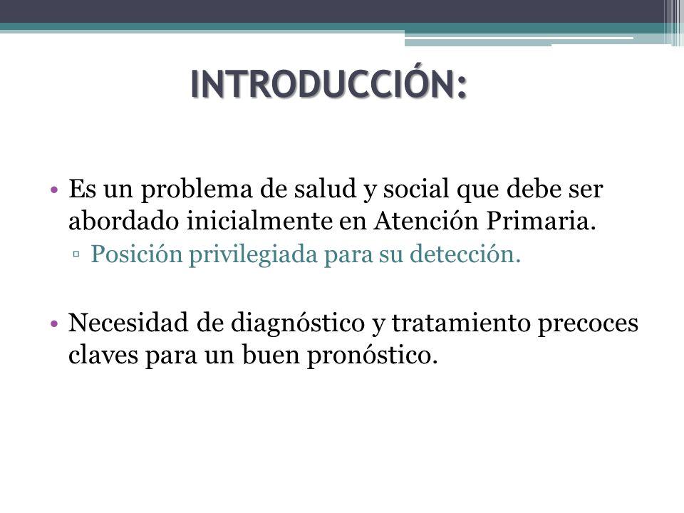 INTRODUCCIÓN: Es un problema de salud y social que debe ser abordado inicialmente en Atención Primaria.