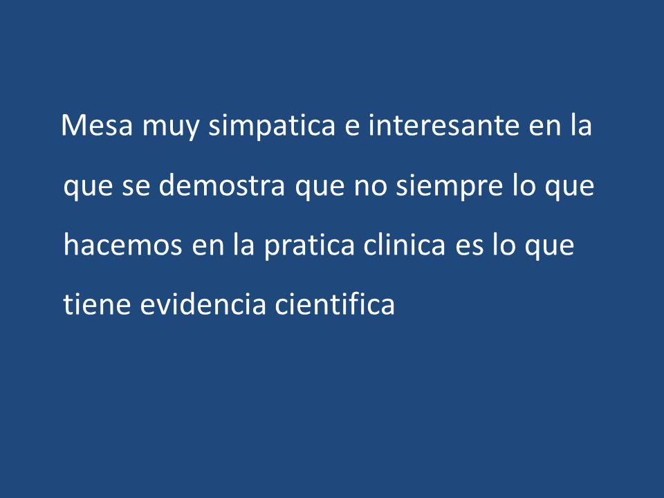 Mesa muy simpatica e interesante en la que se demostra que no siempre lo que hacemos en la pratica clinica es lo que tiene evidencia cientifica