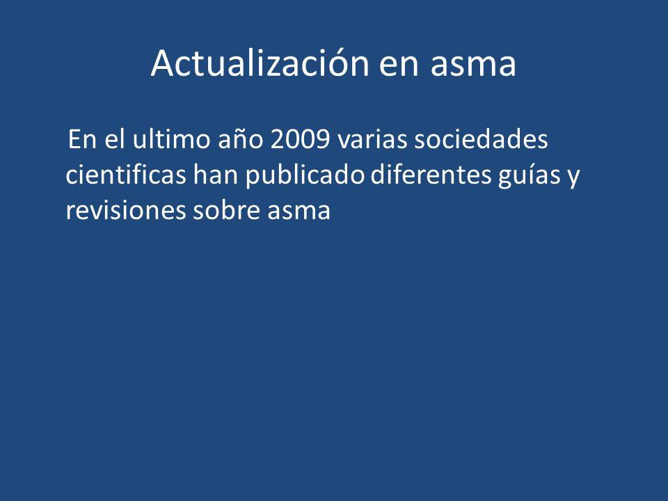 Actualización en asma En el ultimo año 2009 varias sociedades cientificas han publicado diferentes guías y revisiones sobre asma.