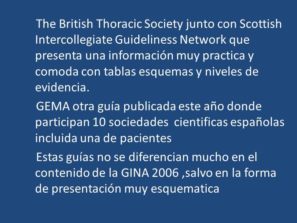 The British Thoracic Society junto con Scottish Intercollegiate Guideliness Network que presenta una información muy practica y comoda con tablas esquemas y niveles de evidencia.