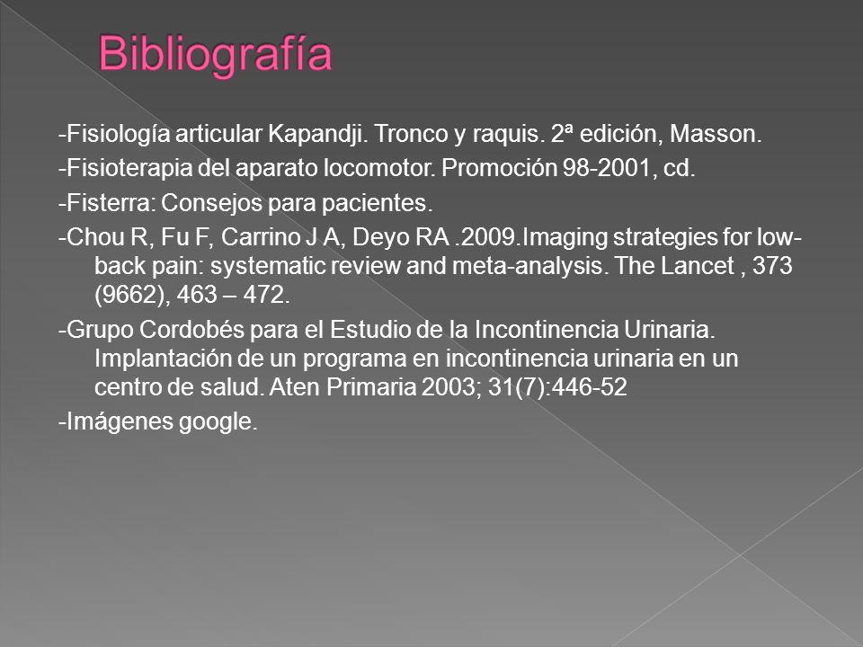 Bibliografía -Fisiología articular Kapandji. Tronco y raquis. 2ª edición, Masson. -Fisioterapia del aparato locomotor. Promoción 98-2001, cd.