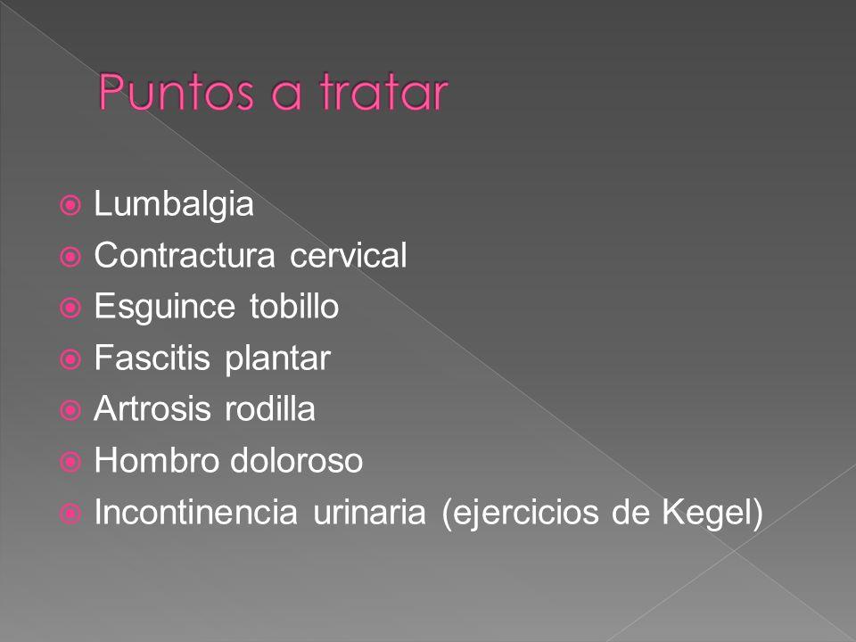 Puntos a tratar Lumbalgia Contractura cervical Esguince tobillo