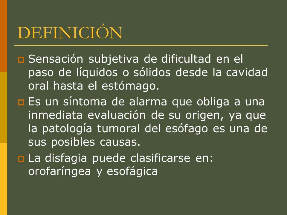 DEFINICIÓN Sensación subjetiva de dificultad en el paso de líquidos o sólidos desde la cavidad oral hasta el estómago.