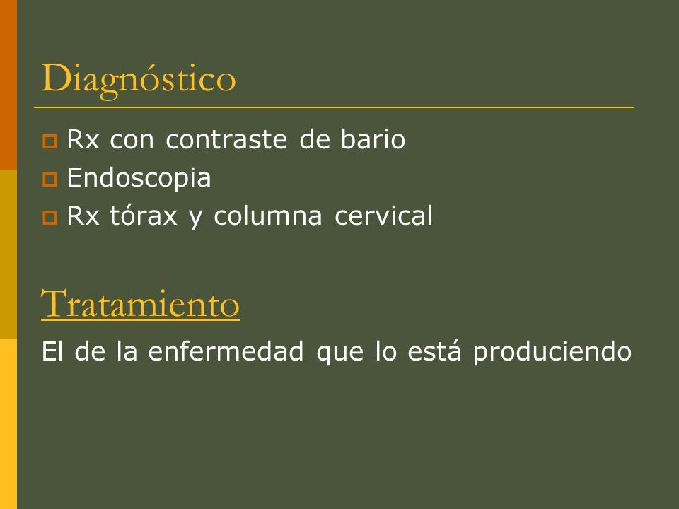 Diagnóstico Tratamiento Rx con contraste de bario Endoscopia